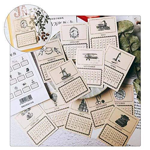 FOONEE Ephemera für Scrapbooking, Vintage-Ephemera-Pack, Retro-Datums-Serie, englische Zahlen-Serie, Ephemera-Karte für Notizbuch, Tagebuch, Kartenherstellung, Briefe 2# -