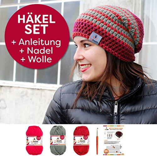 MyBoshi Häkelset Mütze (S152-A5) mit Wolle und Häkelnadel zum einfachen selber machen - Die moderne Häkelmütze Model: Wakayama – (kirsche, titangrau, chillirot)