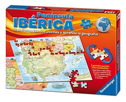 Ravensburger 24027, Puzzle Double Map Iberian Peninsula Spain Physical And Political, pack with 2 X 100 Pieces