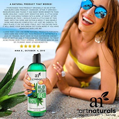 ArtNaturals - Gel orgánico de aloe vera para cara, cabello y cuerpo, 100% natural y prensado en frío, 350 gr