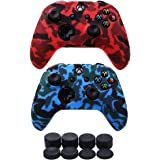 VINSOC Water Transfer Printing Silicone Camouflage Anti Slip Cover Case For XBOX ONE X /XBOX ONE S Controller*2(Red&Blue) Wit