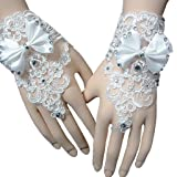 PALAY ® Unisex Gloves for Lady Formal Banquet Bowknot Rhinestone Pierced Lace Gloves Gift (White, Free Size)