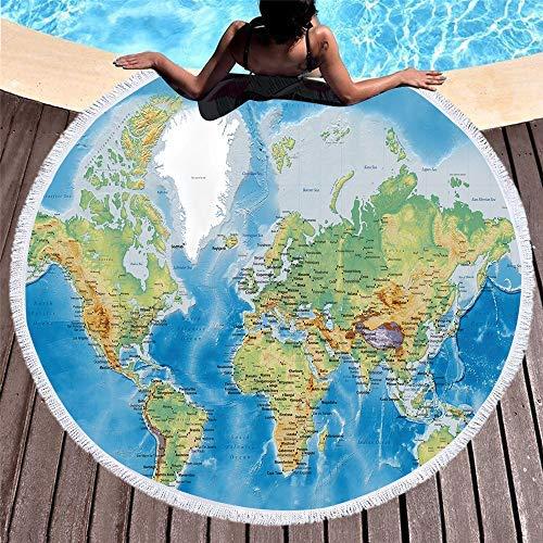 Feyart Handtuch mit Weltkarte aus Buchenholz mit Fransen, rund, mit Quasten für Reisen, Schwimmen, Yoga, Camping, Picknick, 152,4 cm, Kinder und Erwachsene geeignet