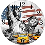 Out of the Blue Glas Wanduhr New York USA Flagge Yellow Cabs 38 cm