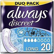 Always Discreet Toallas sanitarias largas para pérdida e incontinencia urinaria, 20 unidades