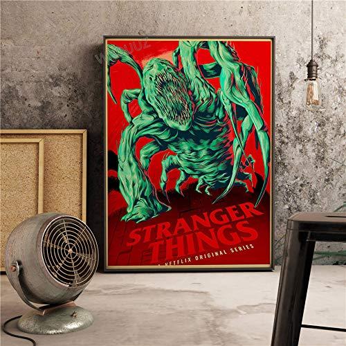 XWArtpic Neue Science Fiction Drama Vintage Poster TV Bild Fremde Dinge Schlafzimmer wohnkultur Kindergarten Kinderzimmer leinwand malerei 90 * 120cm M