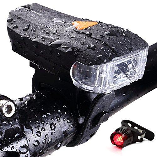 Jolliwin USB wiederaufladbare Fahrrad Licht Set, 400 Lumen helle Fahrrad Scheinwerfer, wasserdicht, spritzwassergeschützt, Smart LED Fahrradbeleuchtung, passt für alle Fahrräder