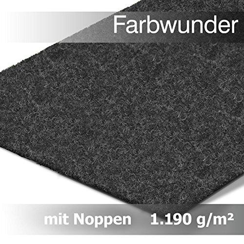 Premium Farbwunder Kunstrasen Rasenteppich mit Noppen in Meterware – Anthrazit, (200 x 100 cm)