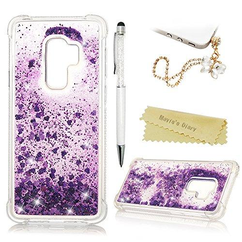 S9+ Hülle Case Mavis's Diary Samsung Galaxy S9 Plus Handyhülle Bling Treibsand Glitzer Cover Transparent Tasche Silikon Soft Skin Schale Durchsichtige Schutzhülle Kratzfest Stoßdämpfend Bumper-Lila