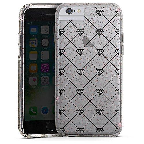 Apple iPhone 7 Bumper Hülle Bumper Case Glitzer Hülle Transparent mit Muster Diamanten Diamant Bumper Case Glitzer rose gold