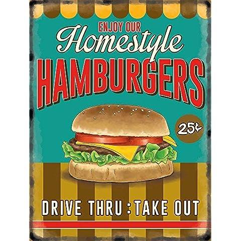 Homestyle Homemade Hamburgers. homemade Cheeseburger. Cibo, Rétro, vecchio vintage insegna pubblicitaria per la cucina, ristorante, bar, cafe o coffee shop Metallo/Targa Da Parete In Acciaio - 20 x 30 cm