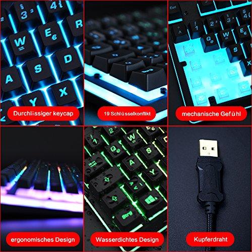 Gaming Tastatur mechanisches Gefühl Chroma RGB Beleuchtung und Vollhohen Tastenkappen Ergonomischen Design Business&Gaming-Tastatur Horsky, QWERTZ, Deutsche Layout  - 5