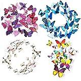 ElecMotive 48 tlg 3D Wandtattoo Wand Aufkleber Schmetterlinge im 3D-Style, 48-Stück, Wanddekoration mit Klebepunkten zur Fixierung (Klebepunkten+ Magnet) (12pc Weiß+12pc Regenbogen+12 Blau+12 Lila)