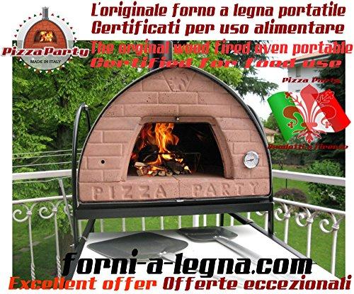 """Holzbackofen Pizza Party 70x70 (original mobiler Holzbackofen) """"GRAU/GREY"""" für Pizzabraten und Brot, Genießen Sie Pizza Party das ganze Jahr!"""