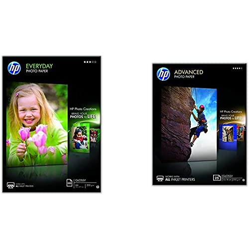 HP Q2510A Evertday Glossy Confezione da 100 Fogli di Carta Fotografica Lucida Originale & Q8696A Carta