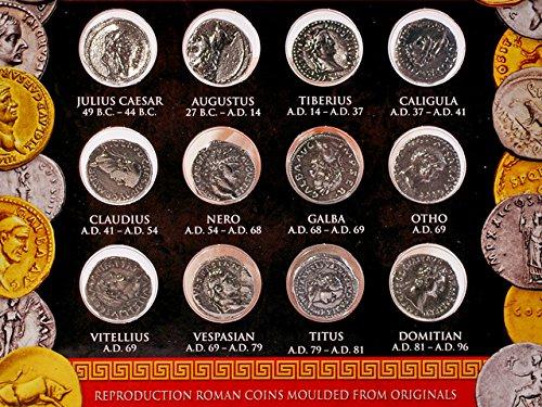 Preisvergleich Produktbild Münzen römischer Kaiser - Münz Repliken von zwölf Cäsaren Silber Denare - Forum Traiani - Replikation Silberdenare - Replik römische Zahlungsmittel des British Museum - Antike Sammlermünzen
