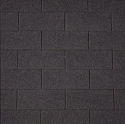[12,33 EUR/m²] Bitumen-Dachschindeln Rechteck schwarz, 3 m², Bitumendachschindeln, Dacheindeckung