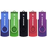 SIMMAX Memorias USB 5 Piezas 32GB USB 2.0 Stick Giratoria Flash Drive Pendrives Almacenamiento Datos (32GB Azul Verde Negro R