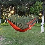 PSKOOK Camping Hängematte mit Moskitonetz Ultraleichte Reise-Backpacking-Hängematte(Orange, Armeegrün)