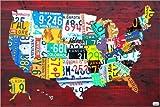 Posterlounge Alu Dibond 90 x 60 cm: Nummernschild Karte der USA von Design Turnpike