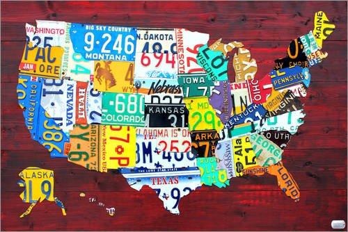 Holzbild 30 x 20 cm: Nummernschild Karte der USA von Design Turnpike