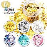 6 Couleur Holographique Paillettes Visage, (6 Couleurs, 3 Formes différentes Sparkle Chunky Glitter Paillette) Cheveux Glitter by AniSqui