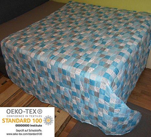 Couvre-lit XXL multi-usages environ220 x 240 Patchwork Canapé Jeté de lit - Beige Lilas Terra Chocolat, Microfibre, Blau Patchwork, ca. 220x240 cm