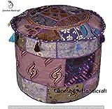 Bohemian Patch Work osmanischen Cover, traditionelle Boden/Fusshocker, Weihnachten Dekorative Ethnic Stuhl Bezug, 100% Baumwolle Boho Art Decor Decor Hand bestickt Bodenkissen Vintage Indian Pouf Cover