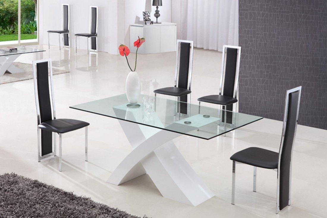 Tavolo da pranzo cucina soggiorno in vetro temperato e - Tavolo pranzo vetro ...