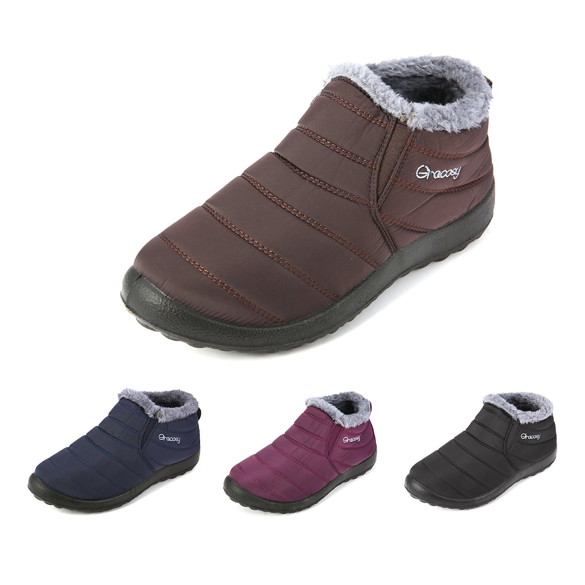 Imperméable Ville Plates à Hommes Bottes Fourrées de Pluie Hiver Chaussures avec de gracosy Talons Neige Femmes Plats EnfantsBottines Bottines 9DHW2IeEY