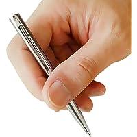 Mini penna a sfera tascabile in metallo, girevole, portatile, colore nero, 1 pezzi