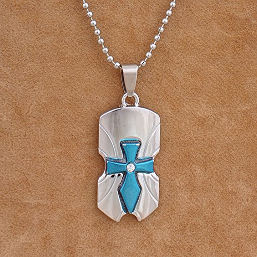Nakabh Stylish Cross Rhodium Blue Plated Alloy Pendant With Chain for Boy Men and Women Girl