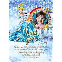 Personalizado Disney princesa Cenicienta invitaciones para fiesta de cumpleaños tarjeta de agradecimiento, Disney Princess Party gracias tarjetas sobres x 8tarjetas + free