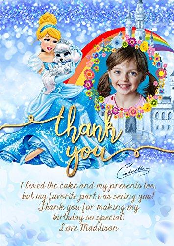 personalisiert Disney Prinzessin Cinderella Geburtstag Party Einladungen Karte Danke, Disney Princess Party Thank You Karte X 8Karten + Gratis Umschläge (Cinderella-geburtstag Einladungen)