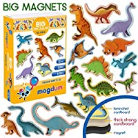 MAGDUM toy DINOSAURS - animal magnets for kids -real LARGE fridge magnets for toddlers- Magnetic EDUcational toys baby 3 year old baby LEARNing magnets for kids- Kid magnets Magnetic THEATRE