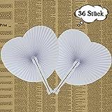 ZesNice 36 Stk. Fächer Hochzeit Gäste Handfächer Papierfächer Weiß Herzförmiges Papier Faltbar Vintage Gastgeschenk Hochzeit