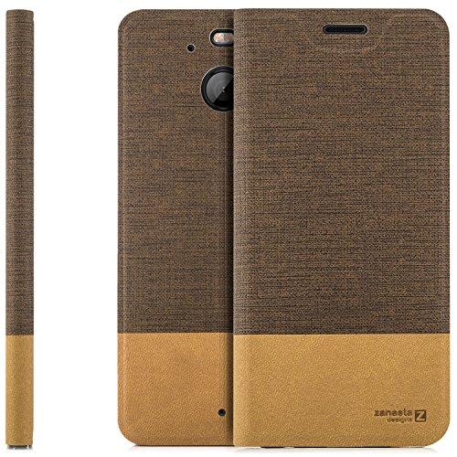 zanasta Designs Tasche HTC 10 EVO Hülle Flip Case Slim Schutzhülle Handytasche mit Kartenfach, Standfunktion | Hellbraun