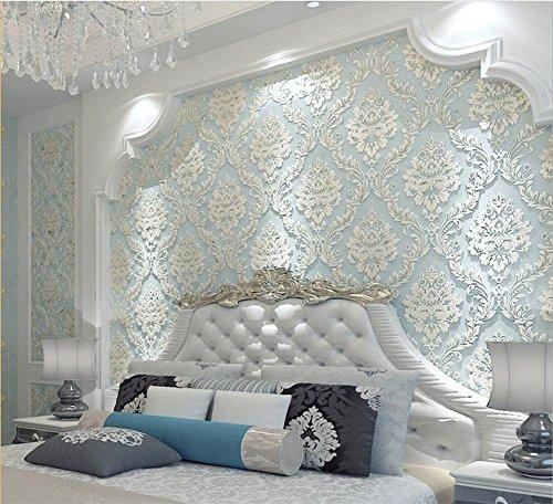 *H&M Tapete dicker Damastart 3D Relief Vlies Dekoration Wohnzimmer Restaurant TV Wand Schlafzimmer Tapete -53cm (W) * 10m (L)*