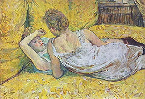 Henri de Toulouse Lautrec – Couché sur un lit jaune imprimé Fine Art vintage, Up to 297mm by 420mm or 11.7