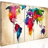murando - Bilder 200x80 cm - Leinwandbilder - Fertig Aufgespannt - Vlies Leinwand – 5 Teilig - Wandbilder XXL - Kunstdrucke - Wandbild - Weltkarte Welt Karte Kontinent Landkarte k-A-0247-b-n