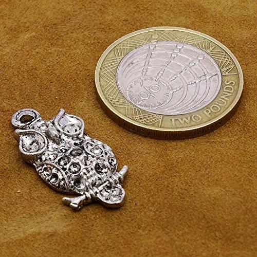 Hibou Chaîne De Conception Beaucoup De Charme Pendentif De 5 Pcs Connecteur Bijoux Superbes Artisanat argent-1