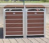 Prewood WPC Mülltonnenbox, Mülltonnenverkleidung für 2x 240l Mülltonne braun // 86x152x127 cm (LxBxH) // Fertig montierte Lieferung!