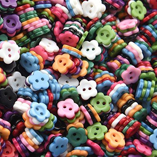 FiveSeasonStuff® Pack de gomas de 200 piezas del bebé de resina acrílica 2-de los agujeros en madera de materiales básicos de costura de los botones de, fragancias a elegir entre diseño de flores y corazones, diseño de estrellas multicolor de, diseño de c