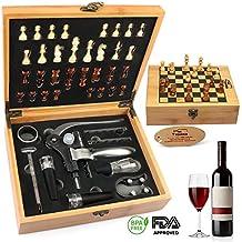 Yobansa kit apertura vino 9pezzi in acciaio inossidabile, accessori per vino/birra, set regalo unico per gli amanti del vino bamboo box chess set