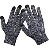 Winter Knit Gloves,Anqier Windproof Touchscreen Warm Hand Gloves for Men & Women (Men, Black-White)