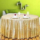 DKEyinx Goldene funkelnde runde Pailletten-Tischdecke für Bankette für Hochzeitsfeiern, Polyester + Pailletten, 125 x 125 cm