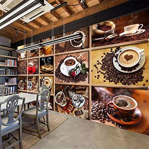 3D tapete Wandbilder Kundenspezifische Kaffeebohnen-Kaffeetasse-Foto-Café-Restaurant-Wohnzimmer-Küche dekorativ 250x175cm