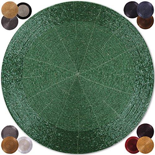 6er Pack Glasperlen Tischset handgefertigt Ø36cm in vielen Farben erhältlich (grün - dunkelgrün) (Weihnachts-dinner-set)