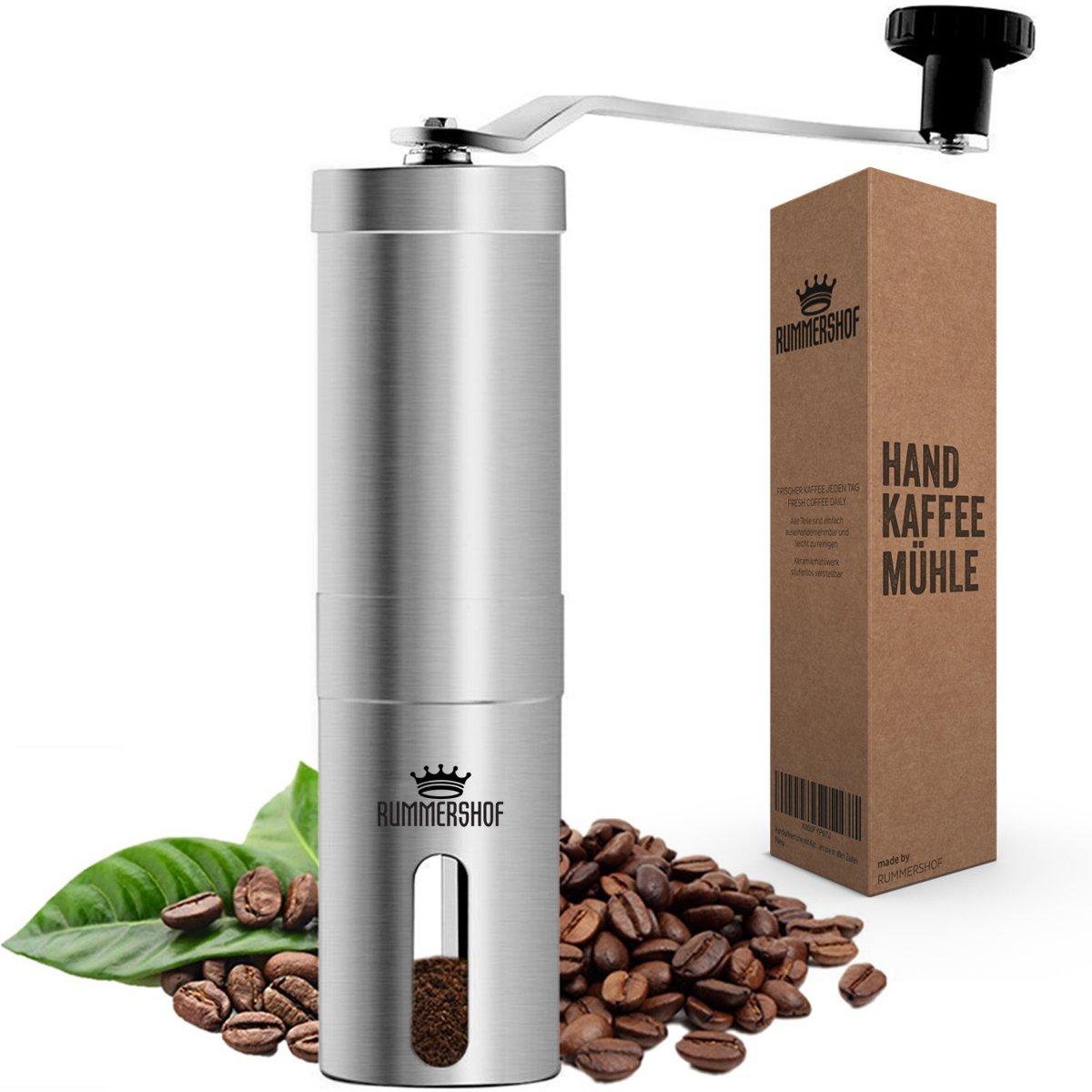Rummershof Handkaffeemühle mit Keramikmahlwerk 2.0 – Manuelle Kaffeemühle aus Edelstahl – Espressomühle inkl. Mahlwerk…