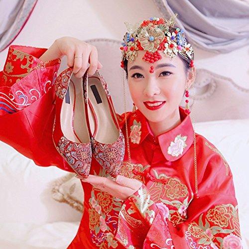 KPHY-Matrimonio In Primavera Le Scarpe Drago E Phoenix Ricamati Solo Scarpe Femminile Nazionale Vento Show Cinese Sposa Le Scarpe 7.5Cm High Heeled Shoes Matrimonio Scarpe gules